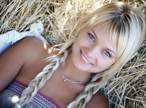 girl, blonde, blue, eyes, smile, pigtails