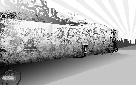 стена, граффити, черно-белая, телефон
