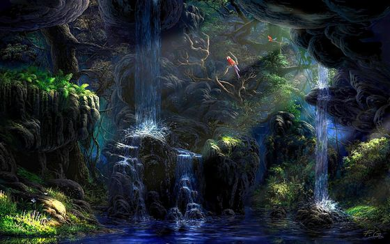 water, Birds, parrot, rays, Trees, jungle