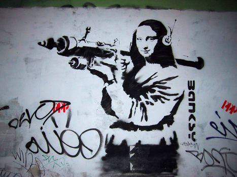 мона лиза, гранатомёт, граффити