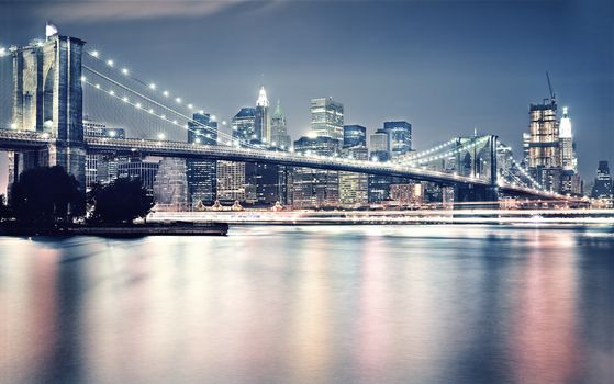 город, сша, нью-йорк, бруклинский мост, бруклин, манхэттен, свет