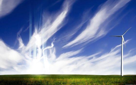 поле, небо, энергия, ветер, перистые облака, стиль
