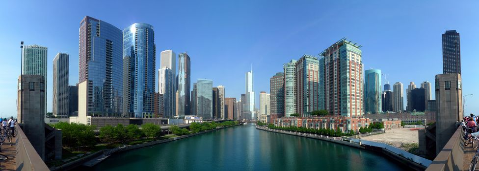 USA, city, Chicago, river, water, form, panorama, home, building, sky, Skyscrapers, photo