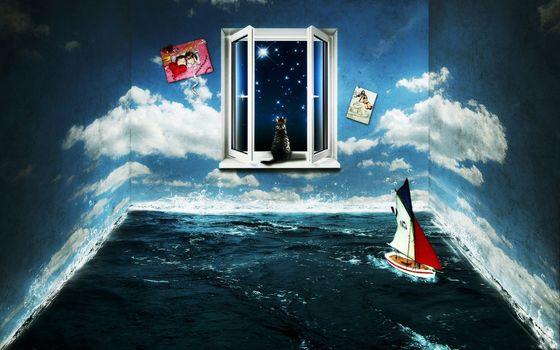 комната, окно, вода, море, стены, небо, облака, кот, яхта, ночь