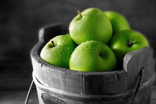 фото, макро, картинка, зеленые, яблоки, капли, фрукты, витамины