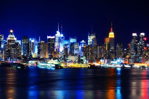 America, New York, bay, night, Skyscrapers
