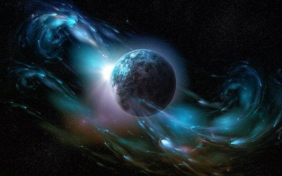 galaxy, planet, Stars