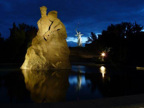 Volgograd, Mamaev Kurgan-, night Volgograd, The Motherland