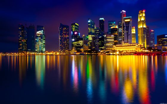Singapore, night, lights