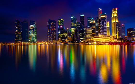 Сингапур, ночь, огни