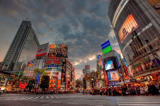 city, evening, Tokyo