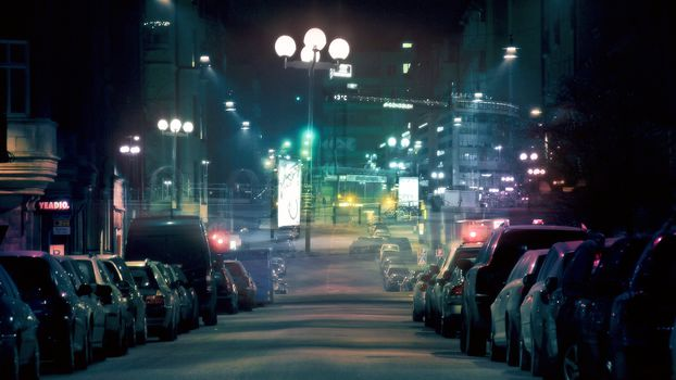 street, night city, cars, lights