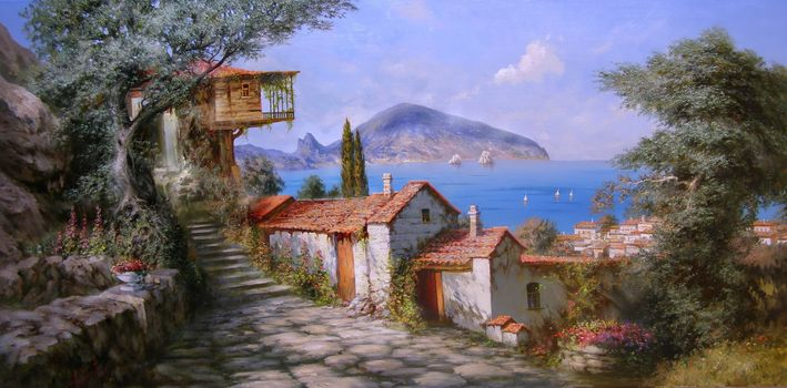 Miliukov alexander, sun, Gurzuf, Crimea, sea, sail, houses, mountain, Flowers, joy, summer, tree, picture, painting, beauty, paradise