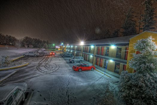 hotel, parking, cars, snow, evening, traces of