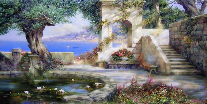 Miliukov alexander, sun, shadow, Crimea, sea, sail, pond, lily, Flowers, joy, summer, tree, picture, painting, beauty, paradise