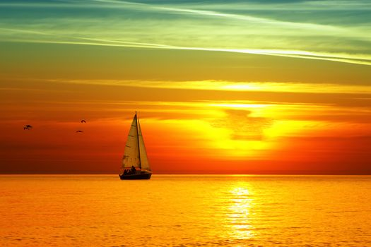 sea, sunset, yacht, sail, bright