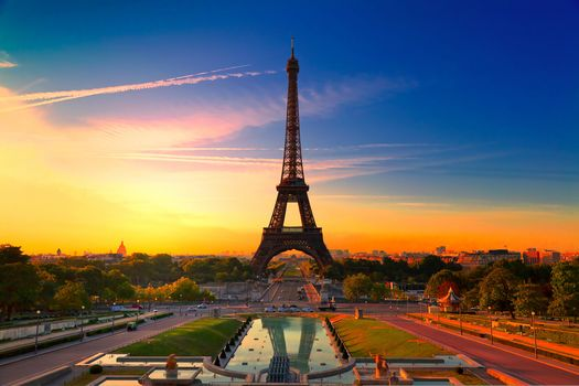 city, Paris, France, Eiffel Tower, colorful, sunset