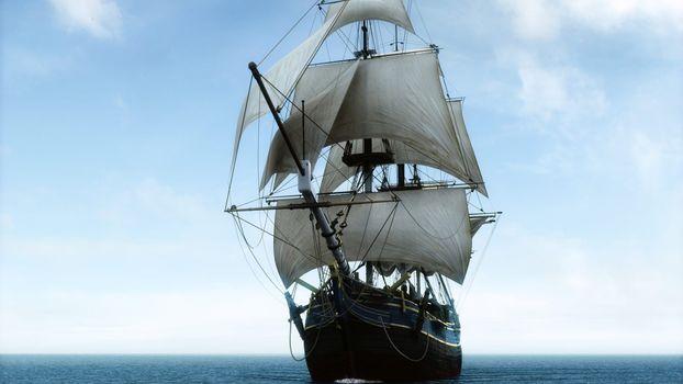 Brigantine, sail, sea