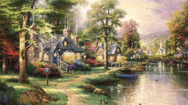landscape, beautiful, picture, painting, houses, footpath, bridge, lake, boat, Ducks