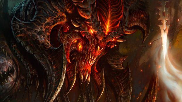 monster, red, devil, Horn, flame, fire, Fear, horror, blood