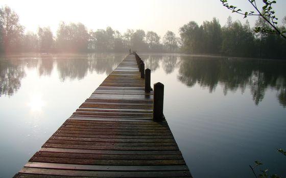 lake, bridge, fog