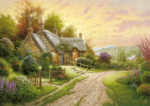 Kincaid, summer, cottage, lodge, Flowers, road, evening, picture, painting