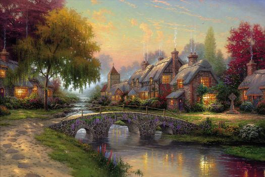 Thomas Kinkade, picture, summer, bridge, river, Cottages, painting