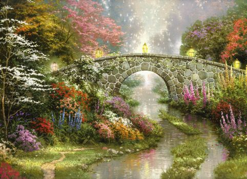 Thomas Kinkade, painting, Beautiful, nature, bridge, Flowers, magic, lights