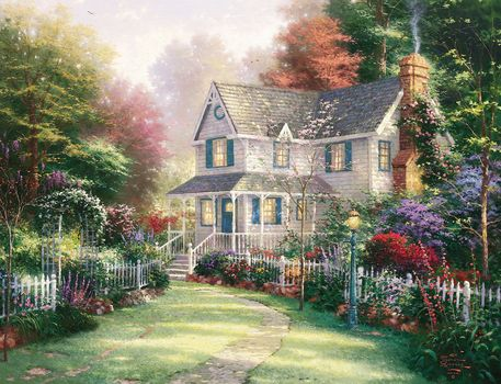 Thomas Kinkade, painting, home, cottage, Garden, summer