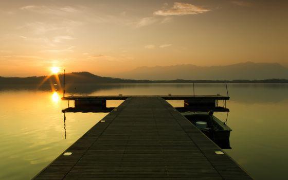 gangway, lake, boat
