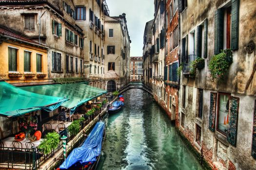Venice, Italy, channel, cafe, Tables, Flowers, bridge