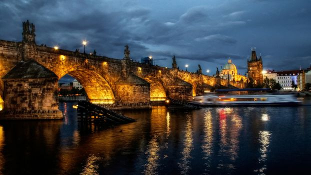 city, Prague, river, night, lights, bridge