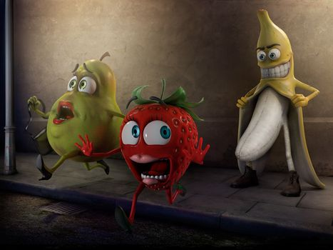 банан, fruit, pear, strawberry, pervert, fear, panic