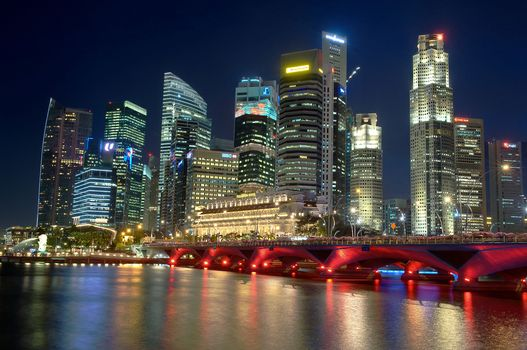 city, Singapore, river, night, nochnoy City