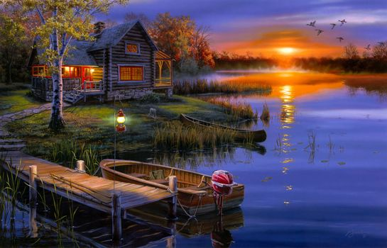 darrell bush, landscape, lake, autumn, sunset, boat, lodge, Ducks, lantern, Art