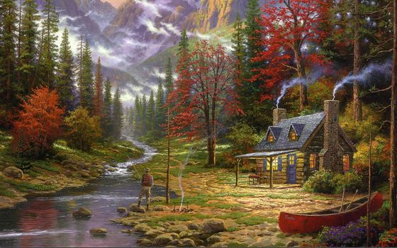 painting, Thomas Kinkade, Mountains, river, fisherman, bonfire, forest, ate, home, cottage, hut, boat, picture, picture, picture, drawings, Art
