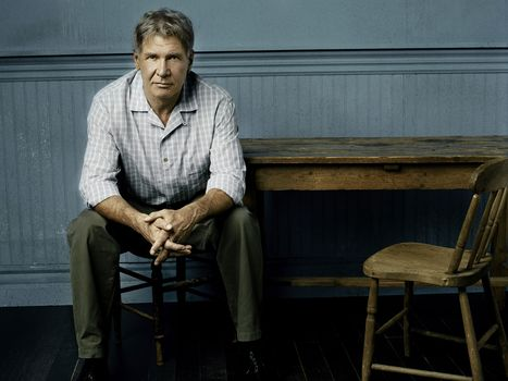 Harrison Ford, actor, sitting, table