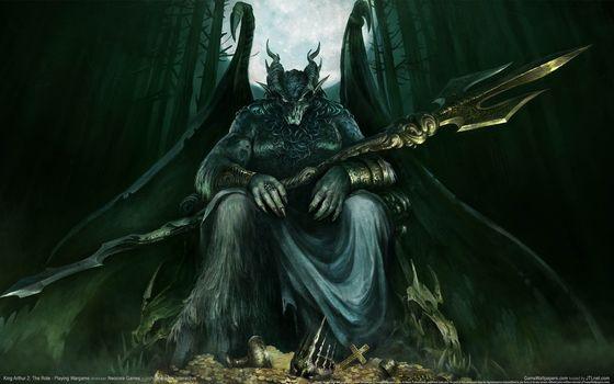 daemon, monster, wings, Horn, moon, forest, weapon, treasure