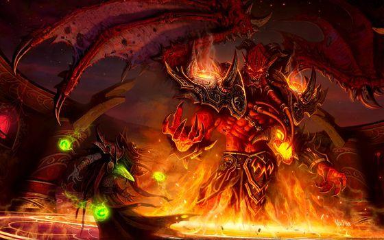 elf, monster, daemon, wings, fire, magic, battle