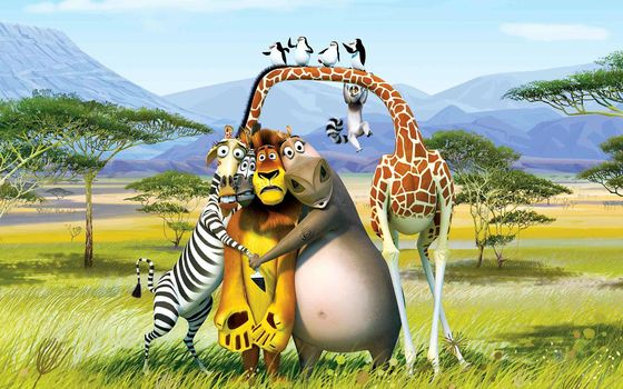 Cartoon, Madagascar, zebra, lion, giraffe, hippopotamus, Melman, Gloria, Alex, Martin, lemur, King Julian, Penguins, desert, Trees, Mountains, Africa, kavalsky, rico, skipper, common