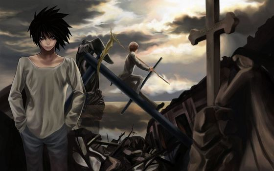 death note, Death Note, Ryuzaki, Light, Yagami, l, Cyrus, destruction, cross, sky
