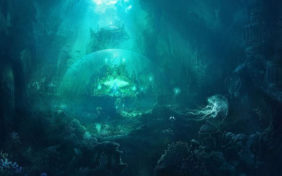 underwater, city, Jellyfish, dome, Fish, ruins