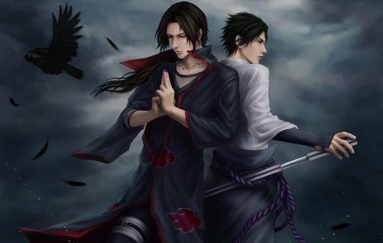 Naruto, Uchiha, Itachi, Sasuke, Ninja, raven, feathers, Katana, clouds