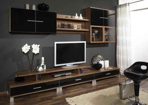 interior, design, room, furniture, cabinet, wall, TV, tree, brown