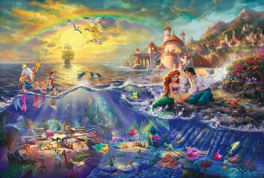 The Little Mermaid, Thomas Kinkade, painting, Disney, princess, Ariel, Neptune, prince, Eric, castle, sail, rainbow, Cartoon