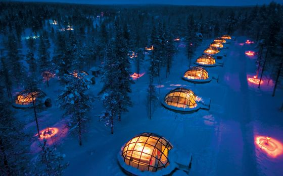 hotel, Lapland, Rovaniemi, Finland, forest, lights, Winter, houses, Trees, lights