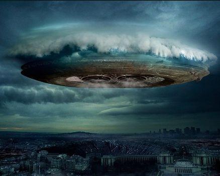 UFO, City, clouds
