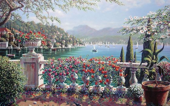 painting, Bob Peyman, Bellagio, Italy, city, lake, Lake Como, sail, Flowers, Rose, cypress