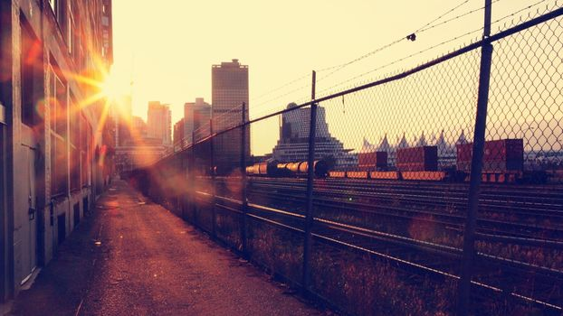 sunset, railroad, city