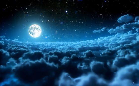 Ночь, облака, луна